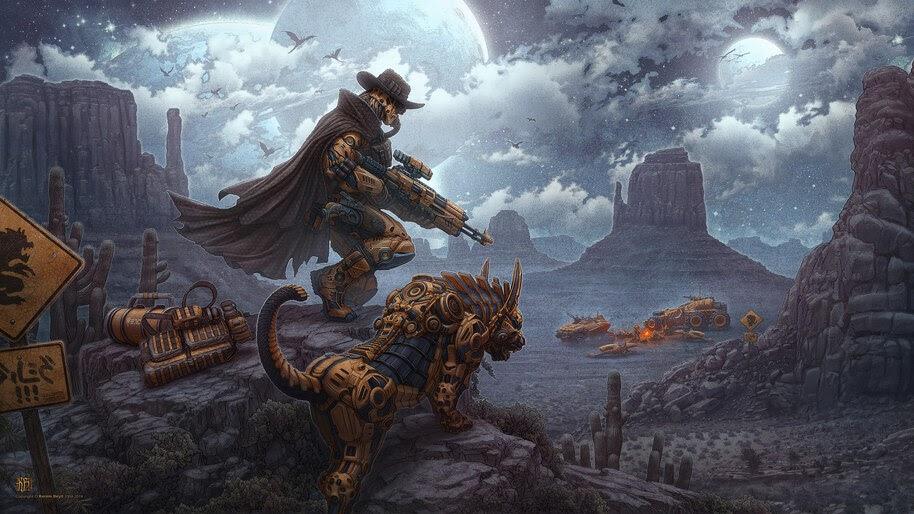 Steampunk, Sci-Fi, Cowboy, Art, 4K, #4.1019