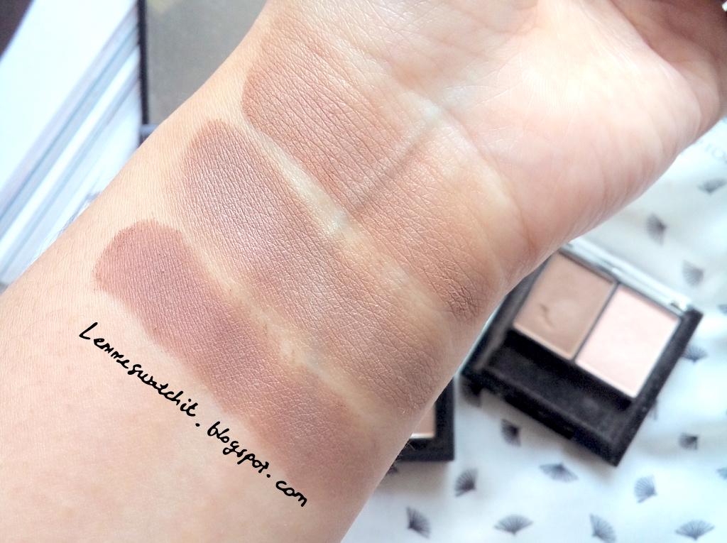 elf contour kit swatches. top - bottom : elf contour palette (contour shade), revlon wet/dry fleshtone shadow, eyebrow kit (dark) powder elf swatches