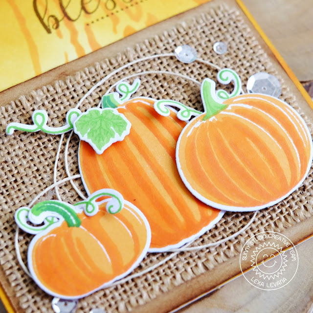 Sunny Studio Stamps: Pretty Pumpkins Burlap Backed Pumpkin Card by Lexa Levana