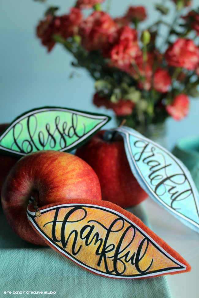 thanksful, blessed, grateful, hand lettereing, apple placecards, fall decor