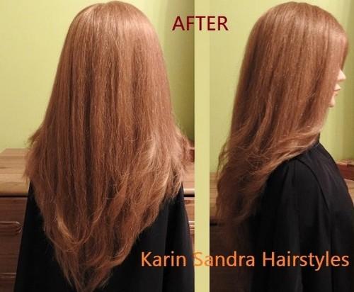 model rambut layer panjang lurus tampak belakang