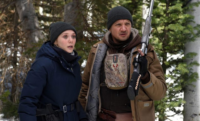 "Elizabeth Olsen and Jeremy Renner hunt a killer in ""Wind River"""