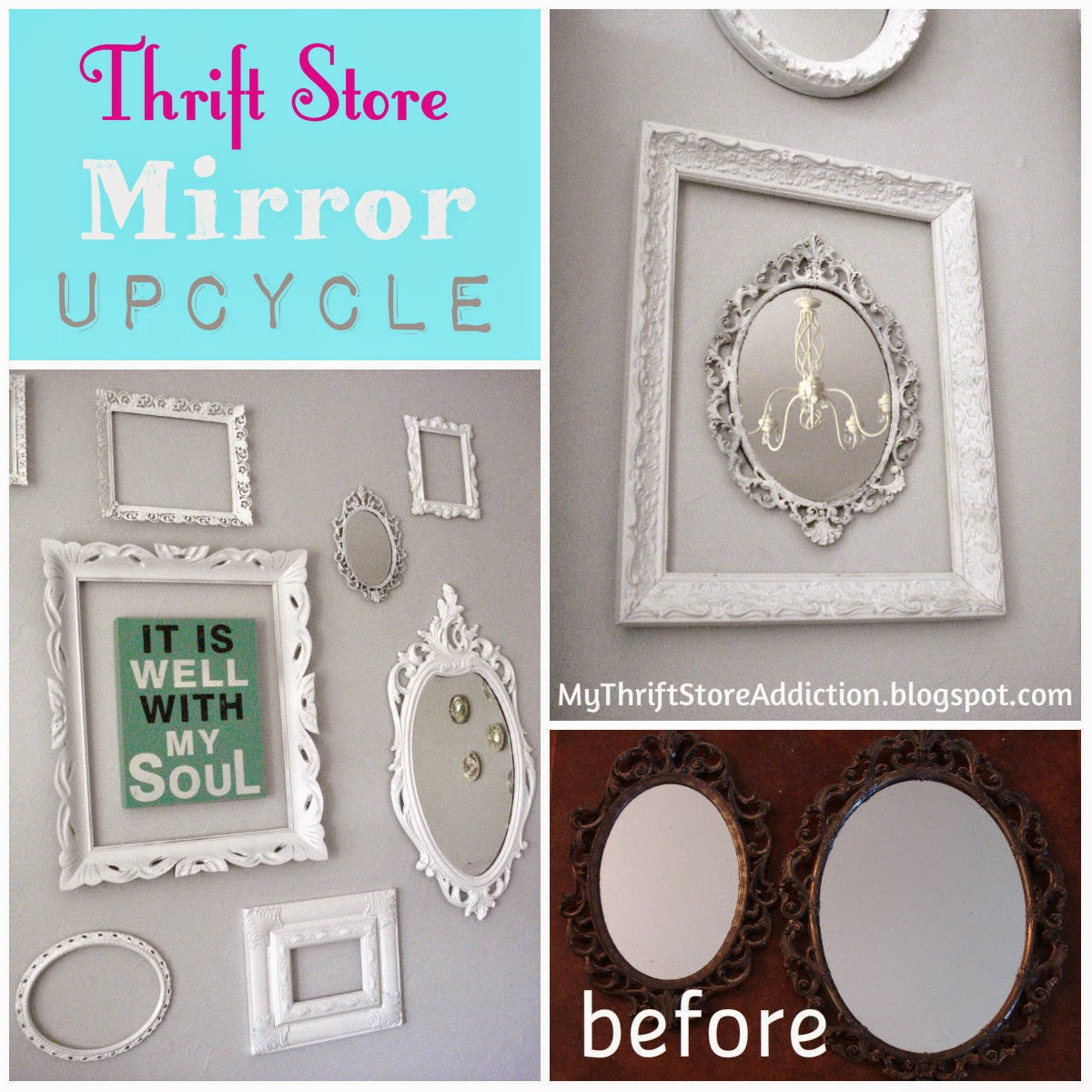 Upcycled thrift store mirrors