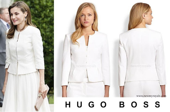 Queen Letizia wore BOSS HUGO BOSS Jeisana Textured Peplum Jacket