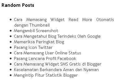 Cara Memasang Widget Random Posts di Blogger