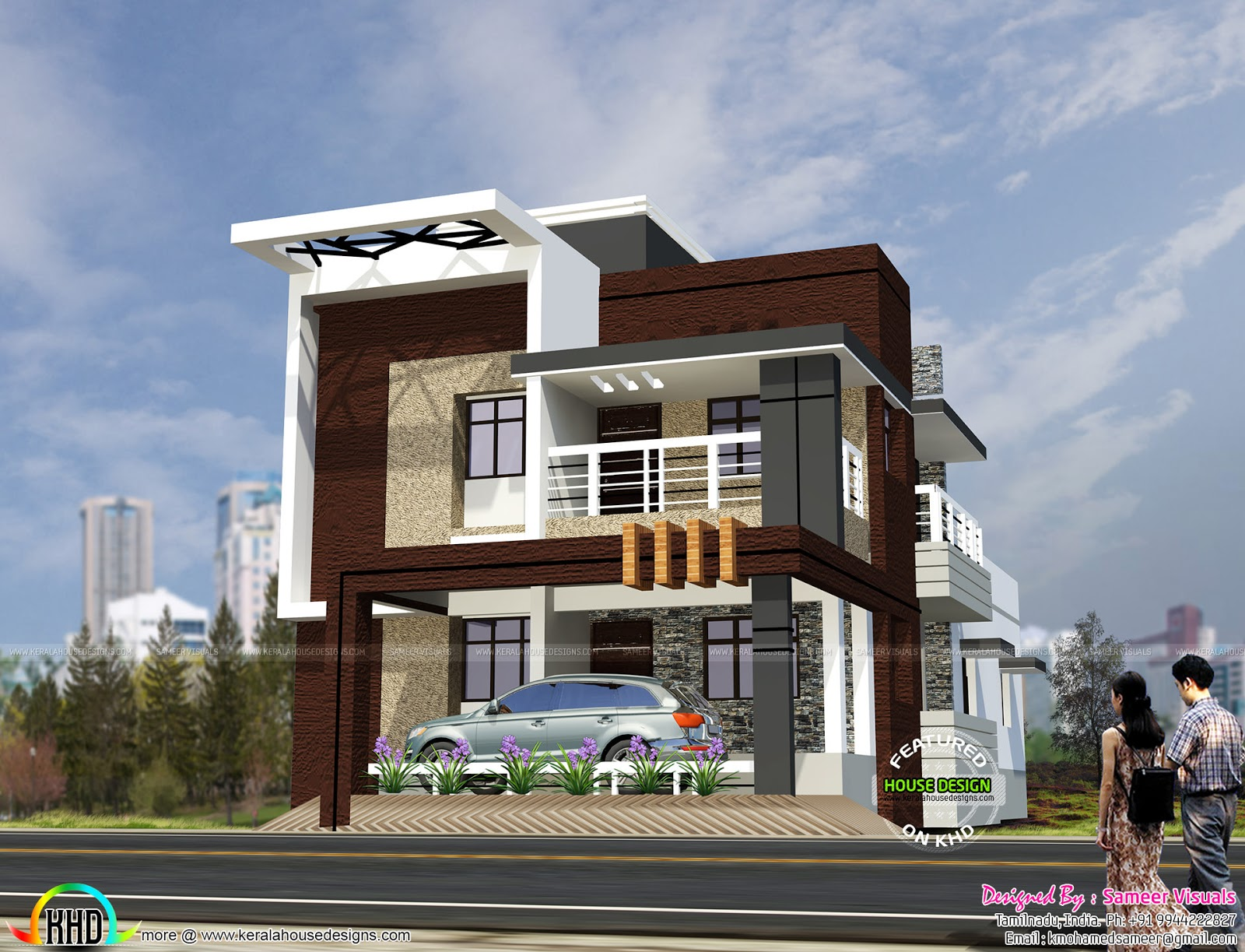 South indian style contemporary house kerala home design for South indian home plans and designs