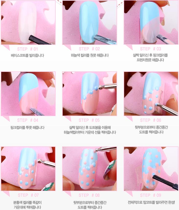 SARA NAIL: Polka Dot Wave Nail Art, Pink & Blue Nail Art