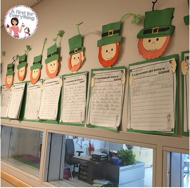 Writing craftivity about how a leprechaun got loose in school, make a leprechaun trap parent letter and blueprint and more!