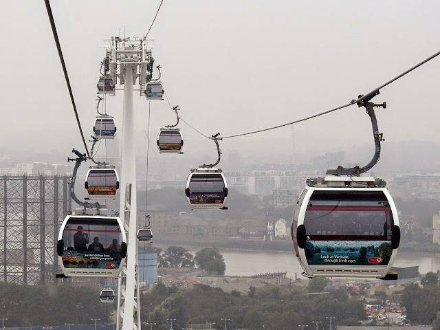 Emirates Air Line, Thames cable car, between the Royal Docks and Greenwich Peninsula, London