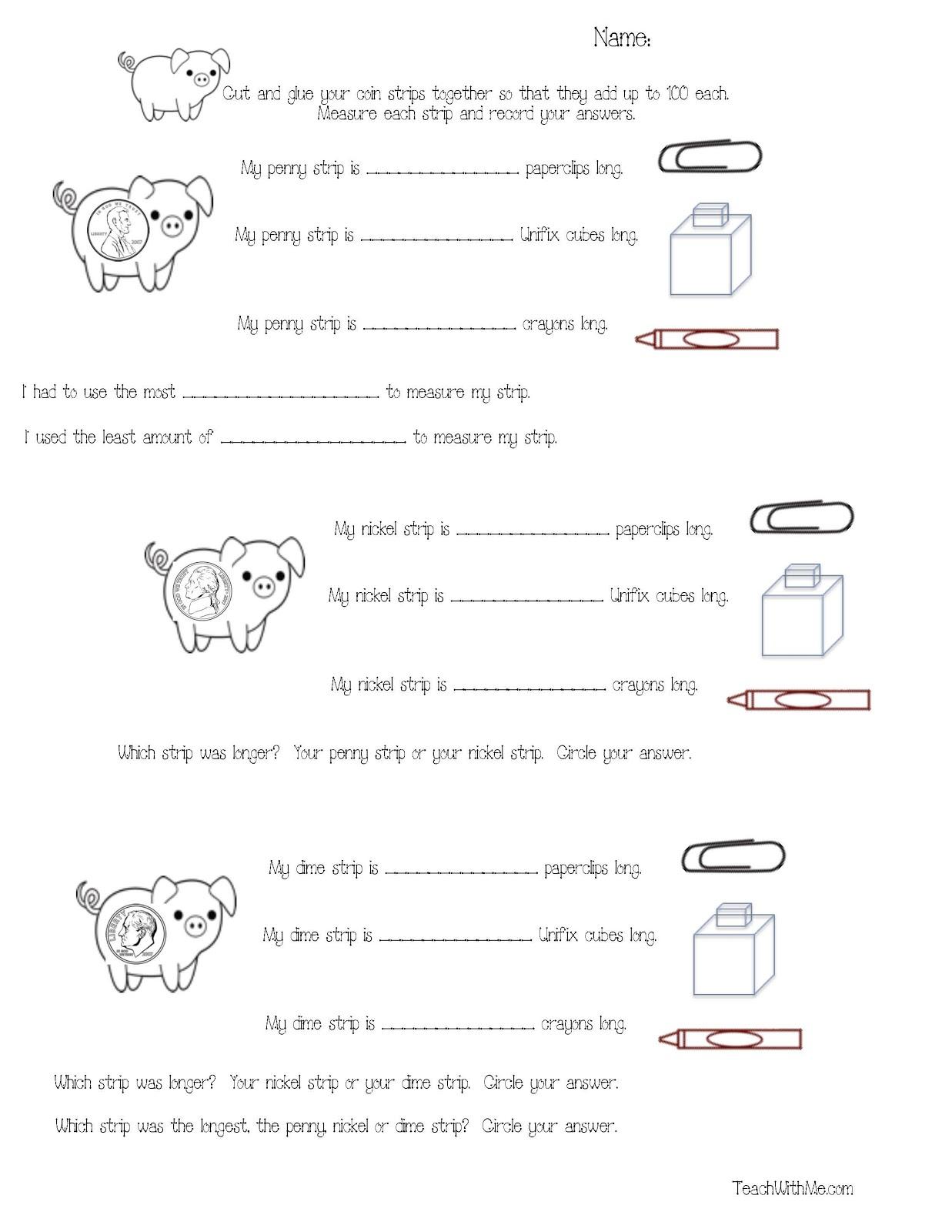 Classroom Freebies Piggy Math Packet