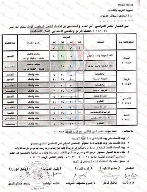 جدول امتحانات الصف الخامس الابتدائي 2017 الترم الثاني محافظة سوهاج