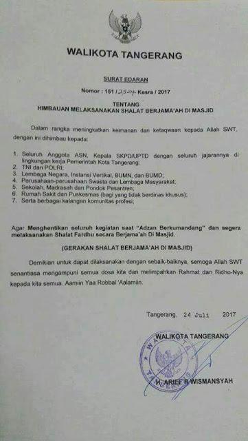MasyaAllah, Keren! Wali Kota Tangerang Keluarkan Edaran Shalat Berjamaah