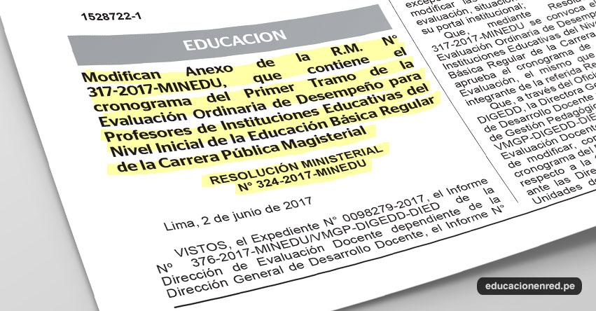 MINEDU modifica Cronograma del Primer Tramo de la Evaluación de Desempeño Docente 2017 (R. M. N° 324-2017-MINEDU) www.minedu.gob.pe
