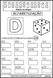Atividades de alfabetização letra D