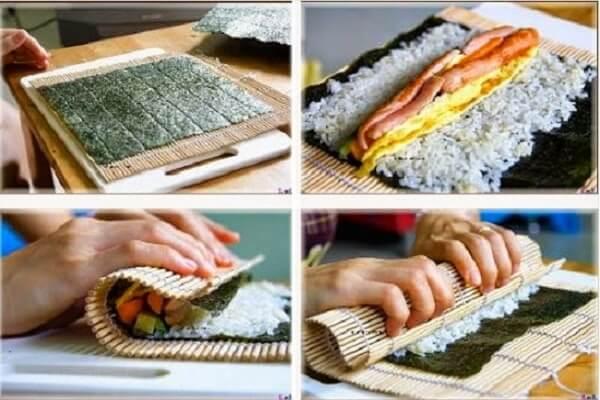 Làm món Kimpap Hàn Quốc tuyệt đẹp bằng mành tre