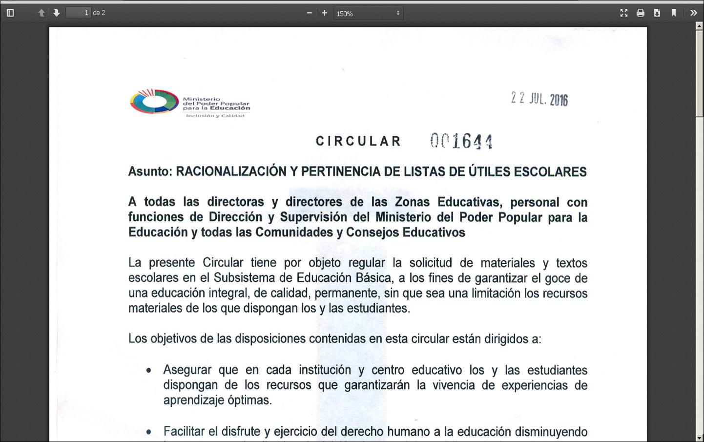 CIRCULAR 001644 RACIONALIZACIÓN Y PERTINENCIA DE LISTAS DE ÚTILES ESCOLARES
