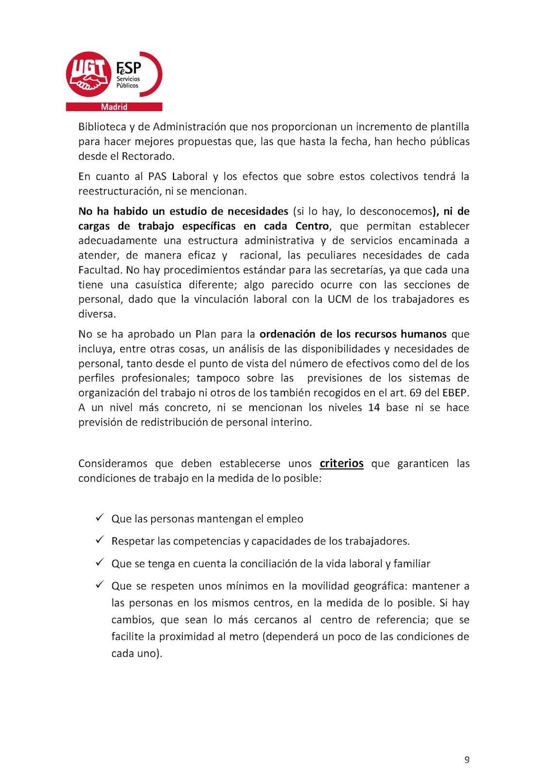 Sección Sindical de UGT en la UCM: PROPUESTA DE UGT ANTE PLAN ...