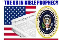 The US in Bible Prophecy features the The US in Bible Prophecy in capital blue letters across the top and below is a flag of the united states of America and within the flag on the left side is the first open page of the book of Revelation and to the left of the book of Revelation is the United States Presidential Seal.