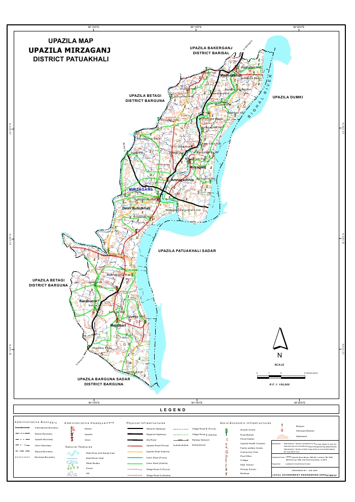 Mirzaganj Upazila Map Patuakhali  District Bangladesh