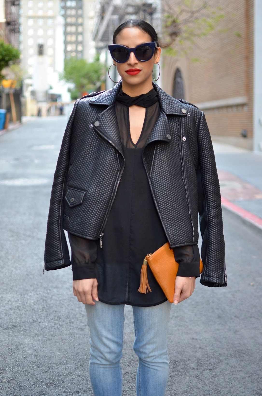 all black, OOTD,Gigi New York handbag, J. Crew denim, BCBG moto leather jacket, Stila Beso lipstick, SF streetstyle, streetstyle, Zara strappy sandals