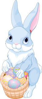 Clipart image of a blue Easter bunny holding a basket of eggs