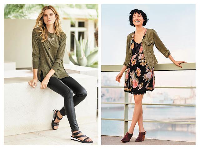 Топ хаки с кожаными брюками, джинсовка хаки с платьем с цветочным принтом