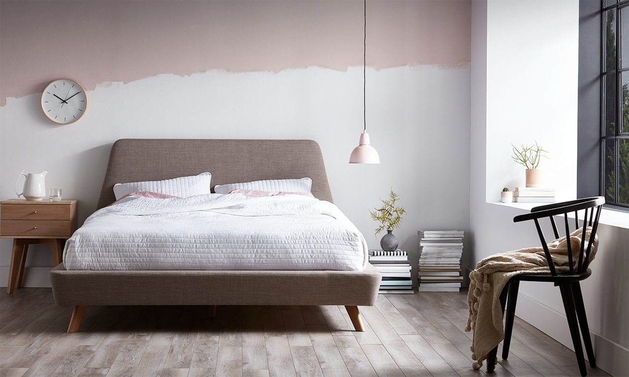 blush pink and white Scandinavian bedroom decor