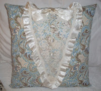 paisley pillow with vintage dress lace