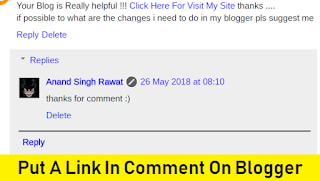 How to Put A Link in Comment on Blogger with Pictures