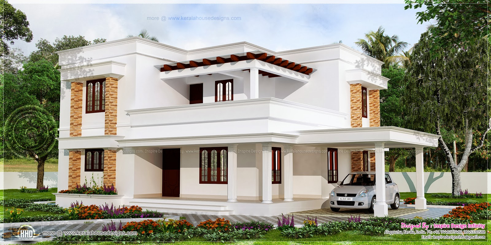 167 square meter flat roof white color house kerala home for Kerala home design flat roof elevation