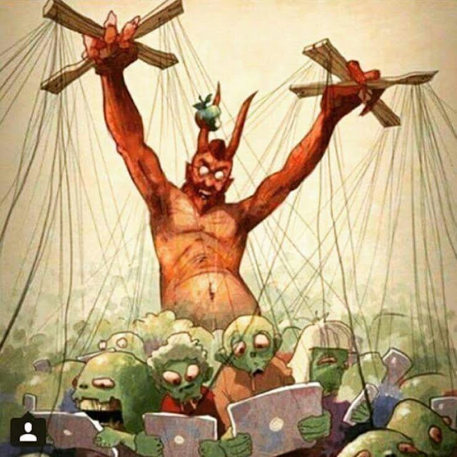 Funny Devil Apple Worshippers Cartoon Picture