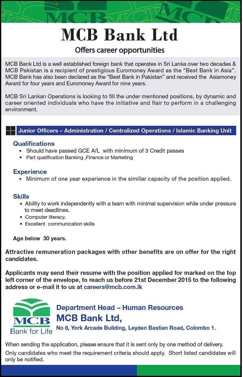 Jobs Battinews com: Vacancy in MCB Bank