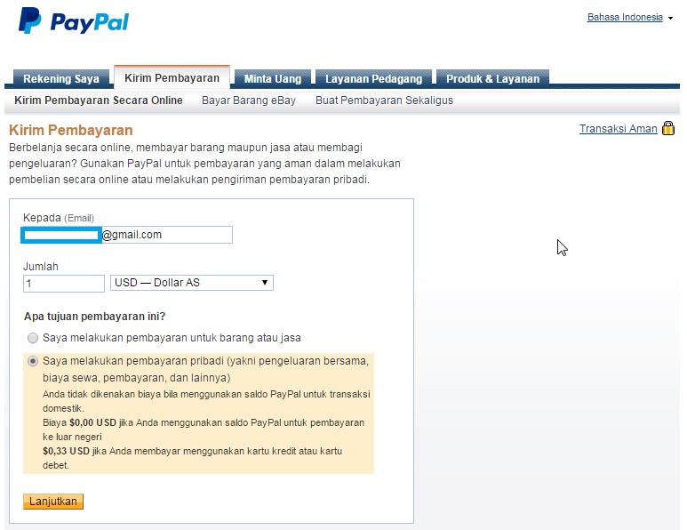 Isi Kolom Kepada Dengan Alamat Email Penerima Untuk Kolom Jumlah Isi Dengan Jumlah Uang Yang Akan Di Kirimkan Jika Ingin Mengirimkan Jumlah Yang Desimal