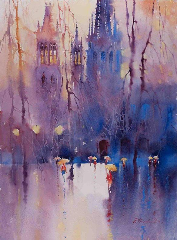 Expresivas pinturas de acuarela de paisajes urbanos de Viktoria Prischedko