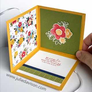 Video & PDF (Printable) Tutorial for Collapsible Room Card ~ Needle & Thread ~ 2019 Occasion Catalog ~ Fun Fold Card ~ www.juliedavison.com
