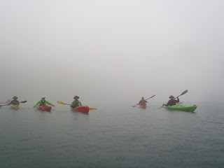 Kayaks emerge from the mist