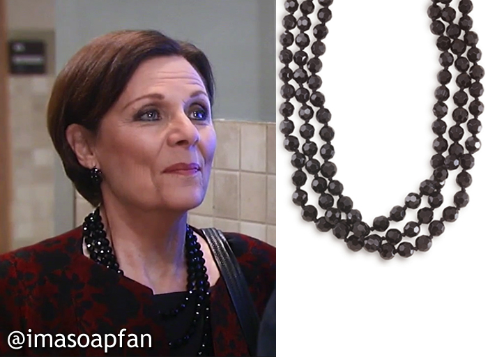 Tracy Quartermaine, Jane Elliot, Faceted Jet Black Beaded Necklace, Carolee, GH, General Hospital, Season 55