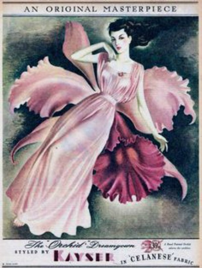 1947 Orchid Dreamgown Kayser Ad Celanese Fabrics