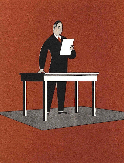 a 1940 graphic illustration in color of a businessman reading