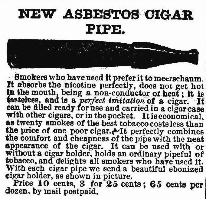 Asbestos Cigar Pipe 1890, an advertisement