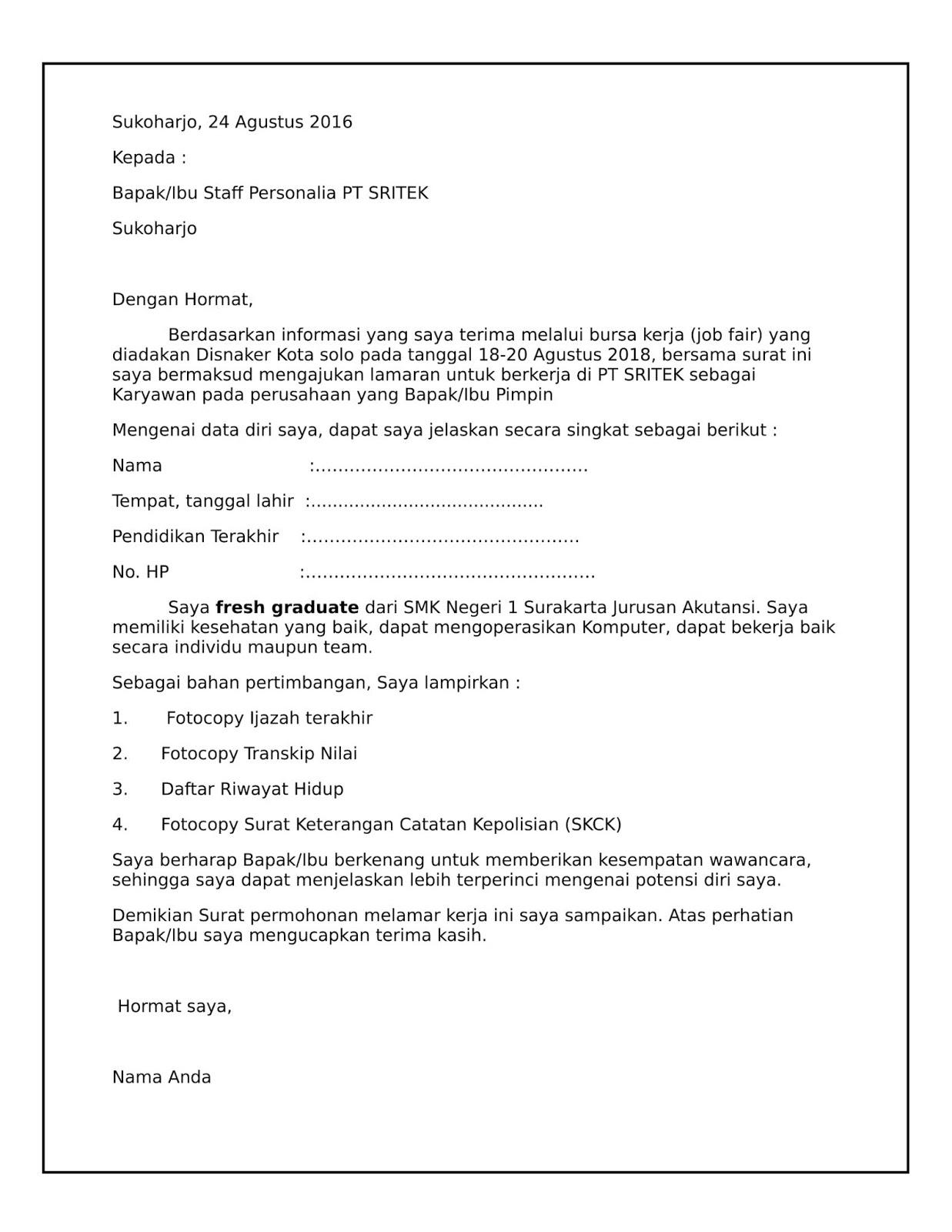 Contoh Surat Lamaran Kerja Di PT atau Pabrik yang paling ...