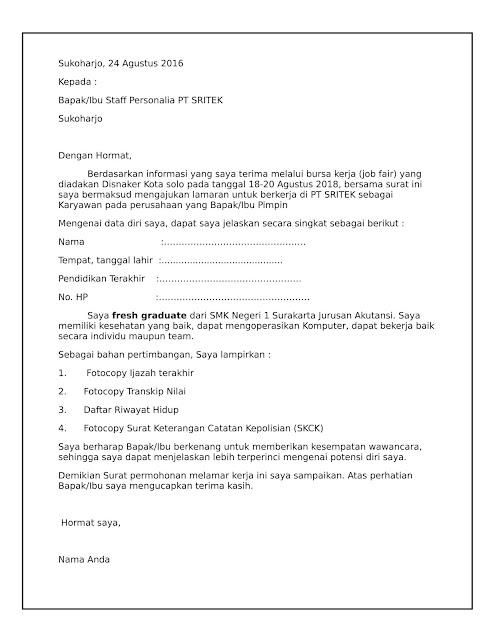Contoh Surat Lamaran Kerja Kerja Di PT atau Pabrik