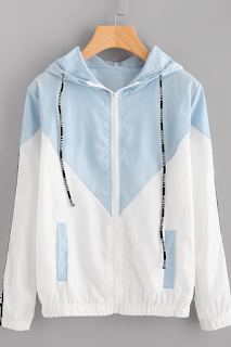 Veste avec zip avec cordon encapuchonné - SHEIN