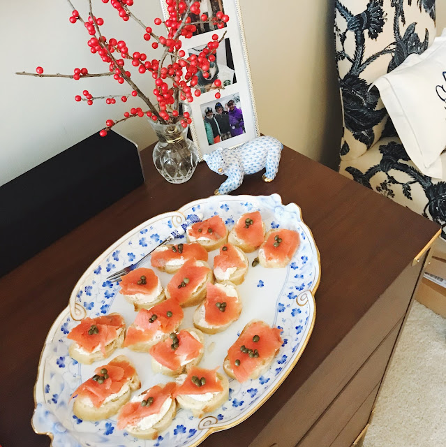 salmon appetizer recipe on herend platter