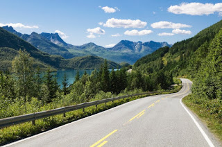 Norway, road along a fjord