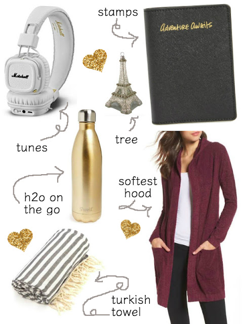 Best Holiday Gift Guide for Travelers. 2017. Gold Water Bottle, Headphones. Passport holder. Cardigan from Nordstrom. Turkish Towel. Eiffel Tower Ornament.