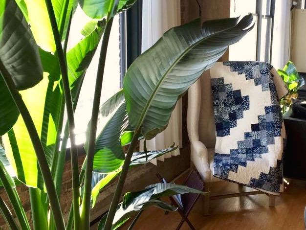 Blue batik quilt