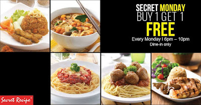 Secret Recipe Malaysia Buy 1 Free 1 Main Course Monday Promo