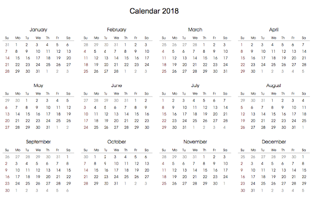 blank 2018 calendars