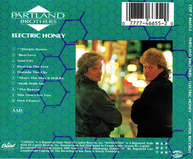 PARTLAND BROTHERS - Electric Honey (1986) back